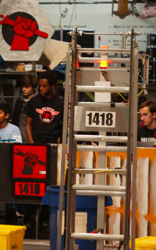 The 2015 robot with 1418 written on the front.