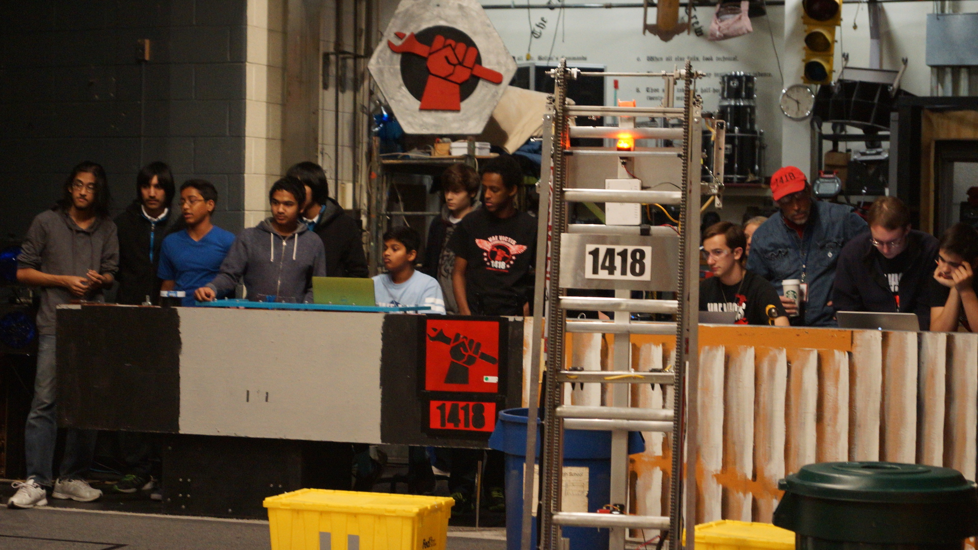 A back-stage robot scrimmage.