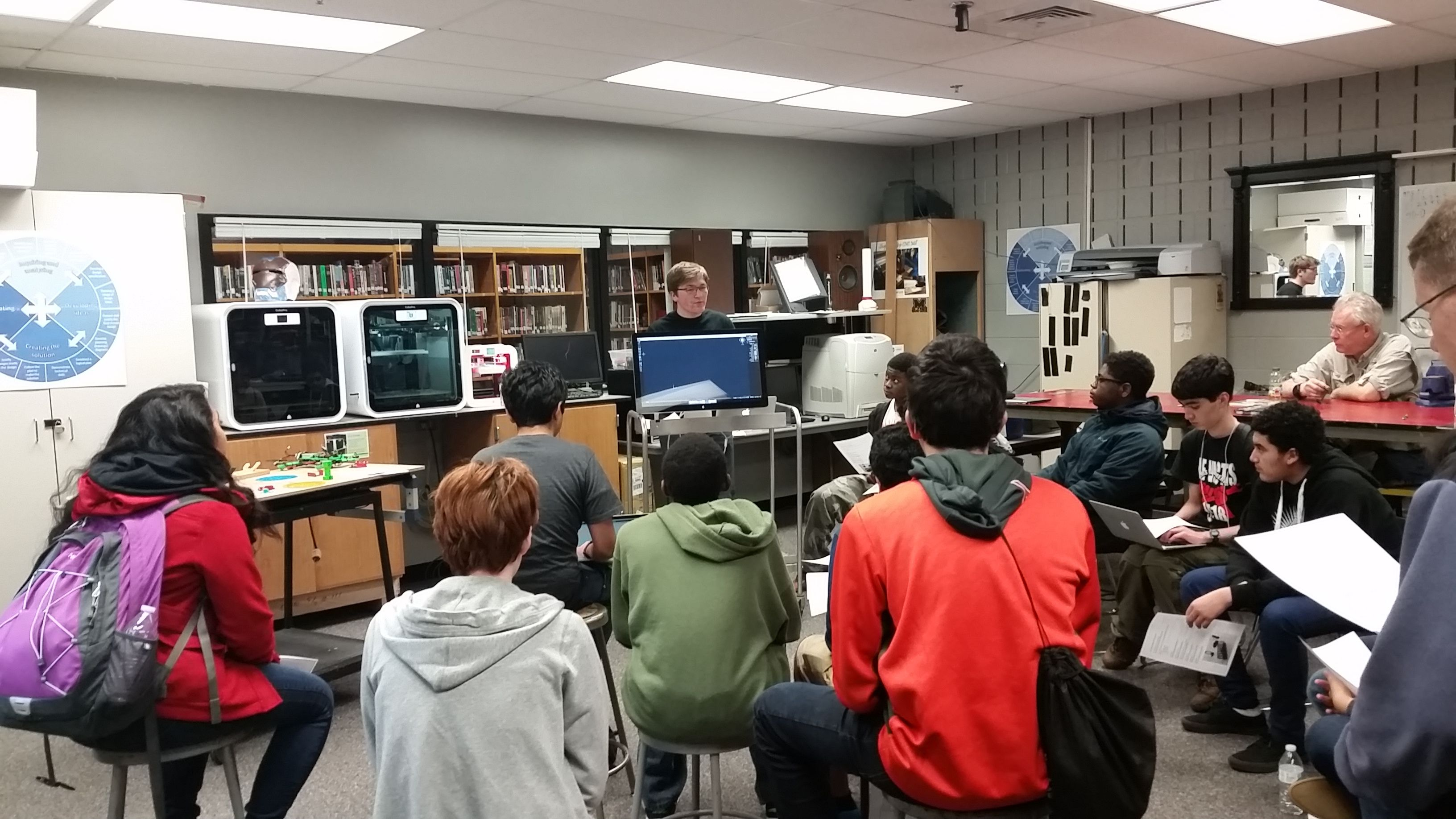 Students attending a 2015 workshop in the Makerspace.