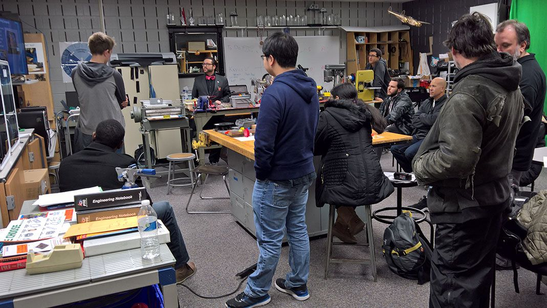 Students attending a 2016 workshop in the Makerspace.