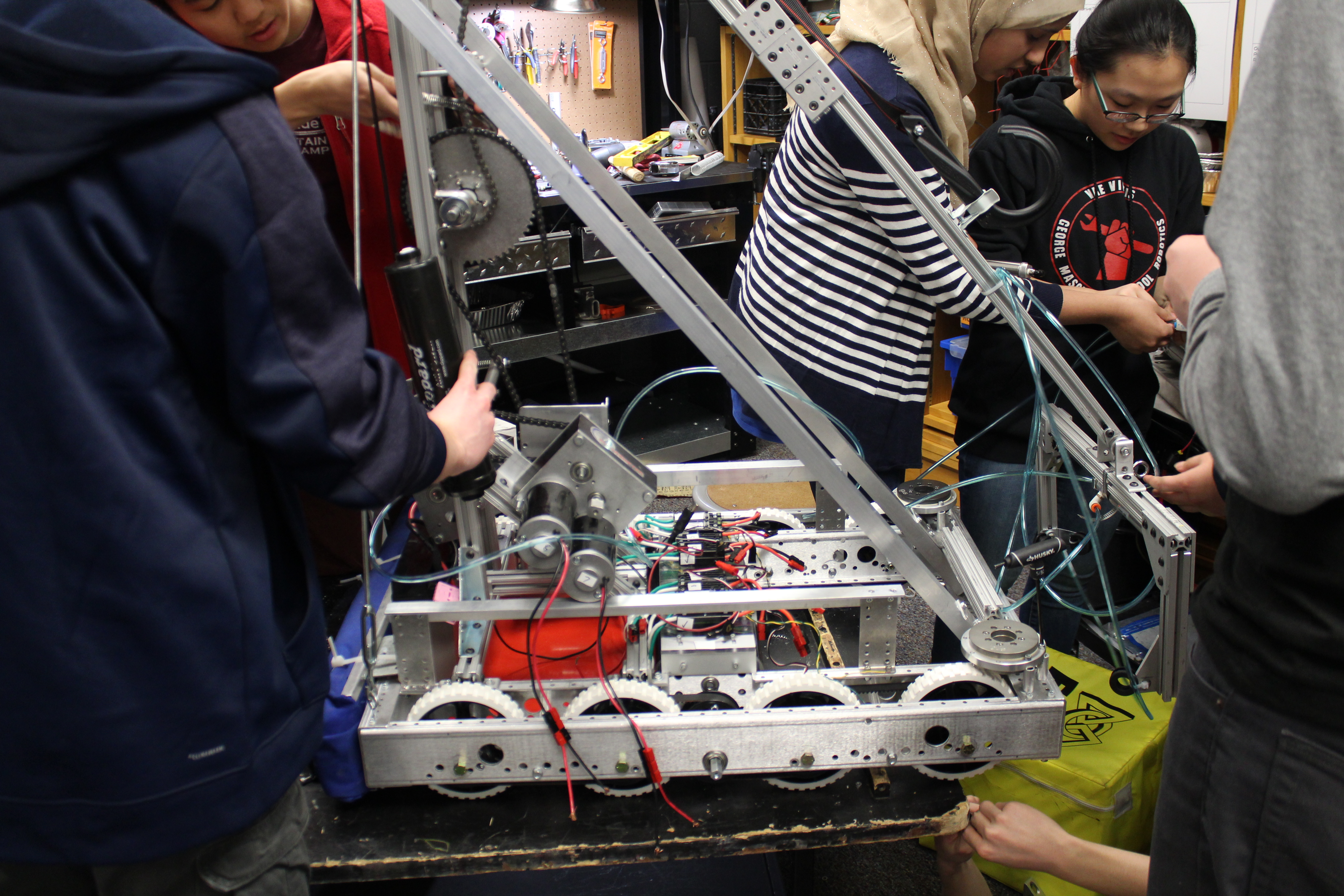 This shows us working on an earlier version of our robot.